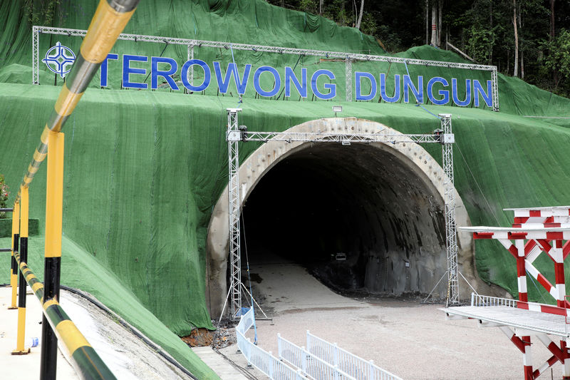 © Reuters. A general view of tunnel constructions site of the ECRL project in Dungun