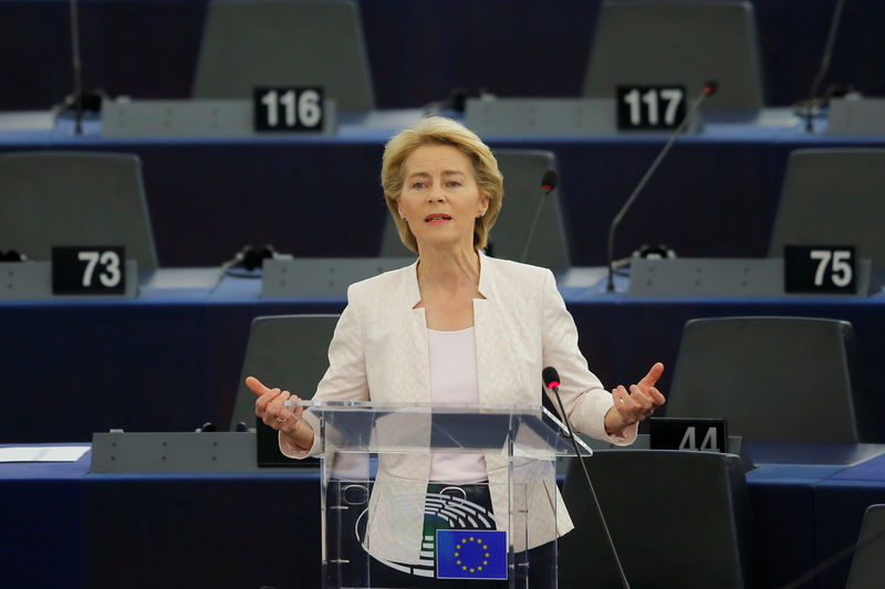 © Reuters. Designated European Commission President von der Leyen delivers a speech during a debate on her election at the European Parliament in Strasbourg