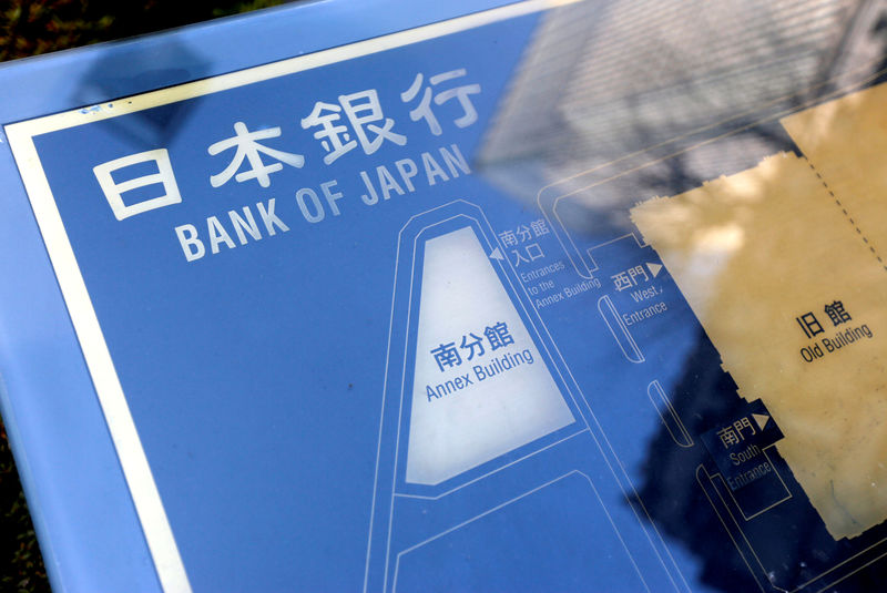 © Reuters. FILE PHOTO: A sign board of Bank of Japan is displayed at the headquarters in Tokyo