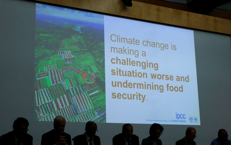 © Reuters. A slide is pictured behind members of the IPCC during a news conference in Geneva
