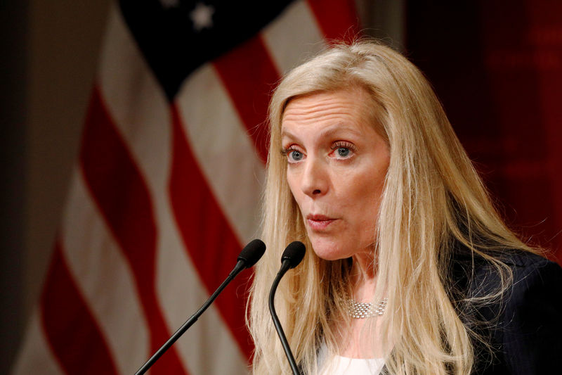© Reuters. FILE PHOTO: FILE PHOTO: Federal Reserve Board Governor Lael Brainard speaks at the John F. Kennedy School of Government at Harvard University in Cambridge