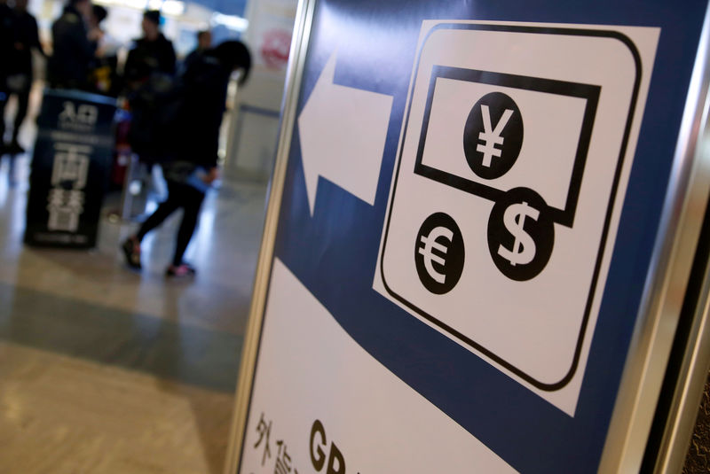 © Reuters. FILE PHOTO: Currency signs for the Japanese yen, the euro and U.S. dollar on a board outside a currency exchange office at Narita airport