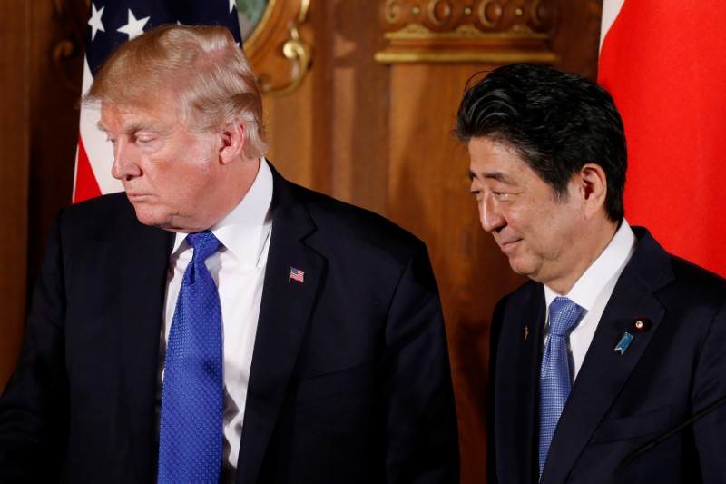 © Reuters.  U.S. President Trump asked Japan PM to buy farm products: Kyodo