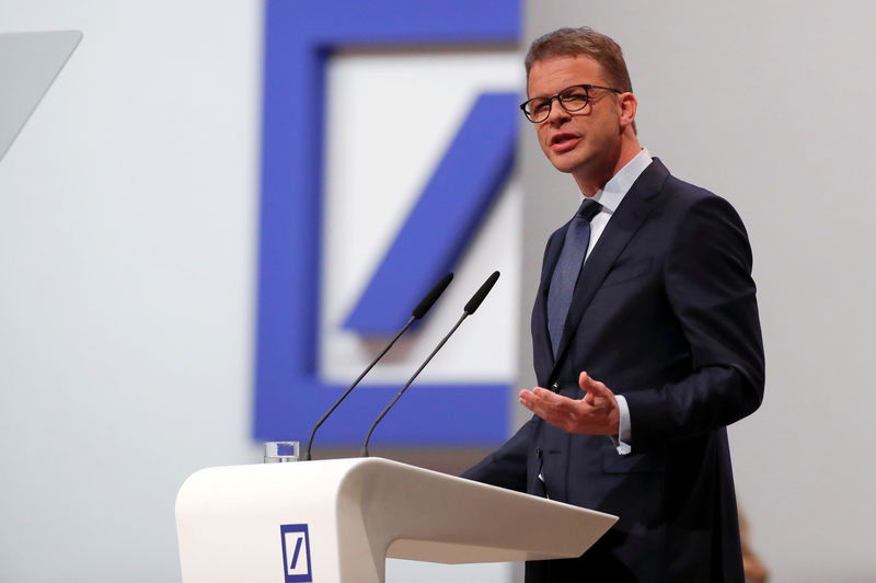 © Reuters. FILE PHOTO: CEO Sewing attends the annual shareholder meeting of Deutsche Bank in Frankfurt