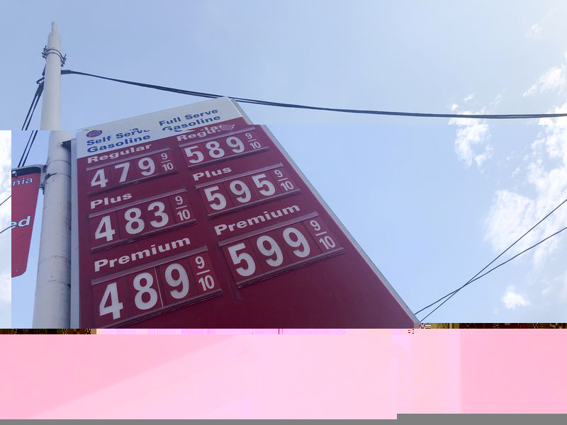 © Reuters. FILE PHOTO: A sign displaying gas prices is seen in Los Angeles