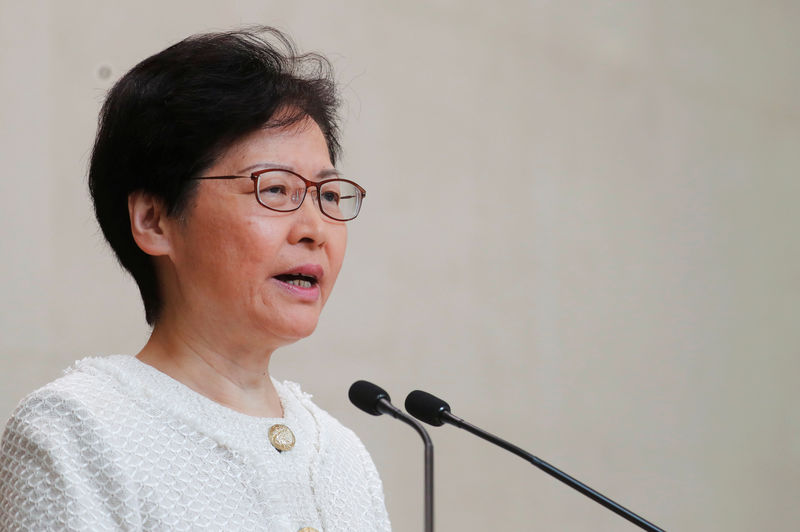 Hong Kong leader says escalation of violence will not solve social issues By Reuters