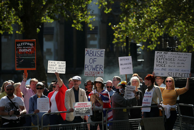 © Reuters. Anti-Brexit protesters demonstrate outside the Supreme Court in London