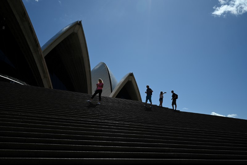 © Reuters. FILE PHOTO: A handful of tourists stand atop the mostly deserted steps of the Sydney Opera House in Sydney