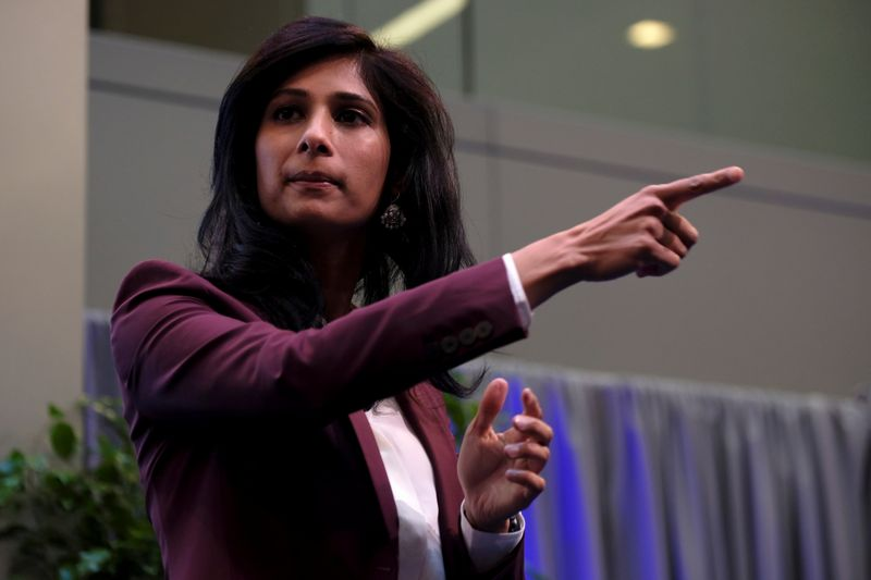 © Reuters. International Monetary Fund Chief Economist Gita Gopinath takes questions at the annual meetings of the IMF and World Bank in Washington