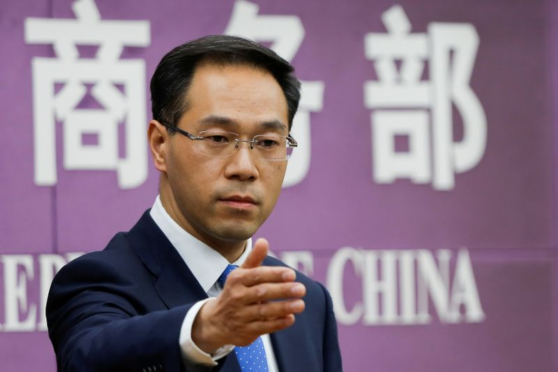 © Reuters. China's Ministry of Commerce spokesperson Gao Feng attends a news conference in Beijing