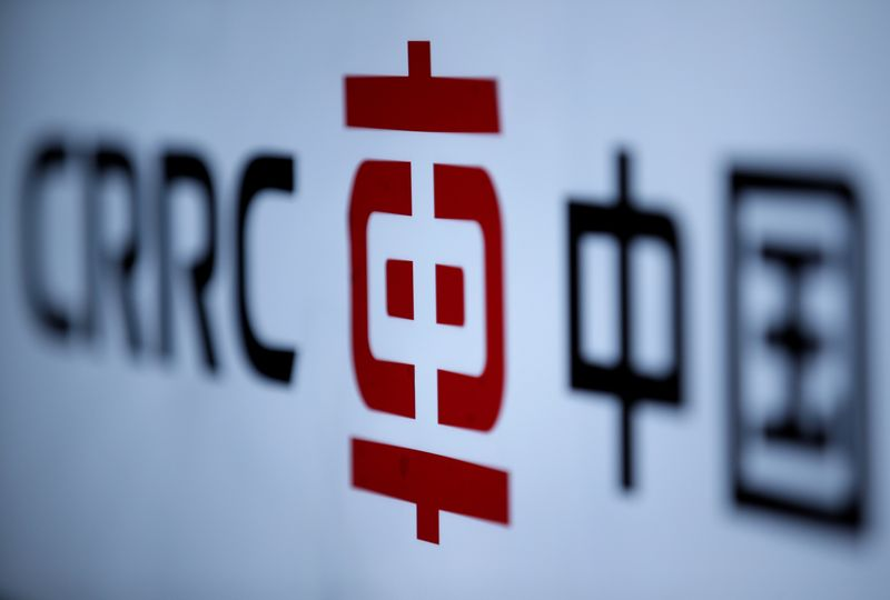 © Reuters. A CRRC's logo is seen at an exhibition during the World Intelligence Congress in Tianjin