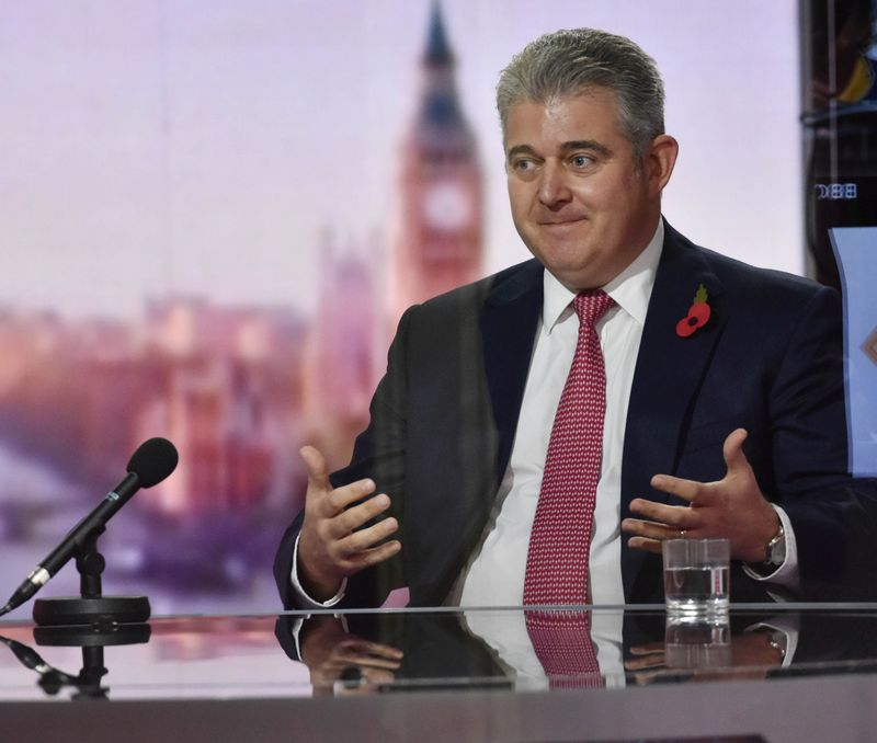 © Reuters. Britain's Secretary of State for Northern Ireland Brandon Lewis appears on BBC TV's The Andrew Marr Show in London