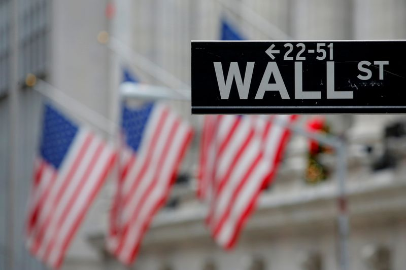 © Reuters. FILE PHOTO: A street sign for Wall Street is seen outside the New York Stock Exchange in Manhattan, New York City
