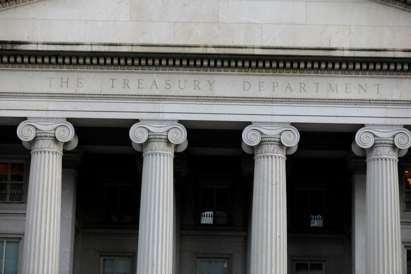 © Reuters. FILE PHOTO: The United States Department of the Treasury is seen in Washington, D.C.