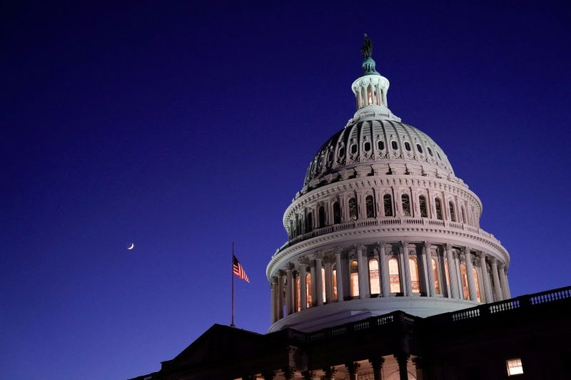 © Reuters. The U.S. Capitol dome is seen at night in Washington