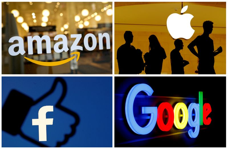 © Reuters. FILE PHOTO: The logos of Amazon, Apple, Facebook and Google