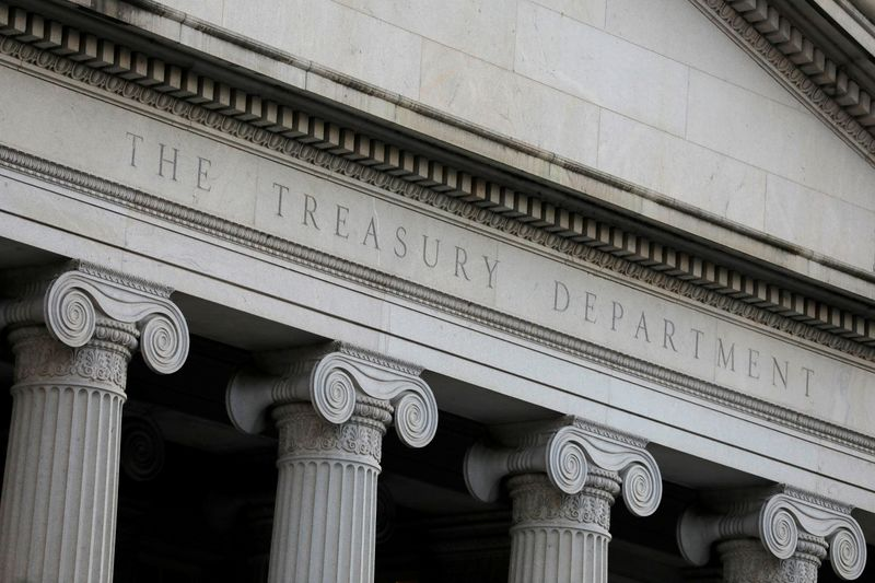 © Reuters. FILE PHOTO: The U.S. Department of the Treasury is seen in Washington, D.C.
