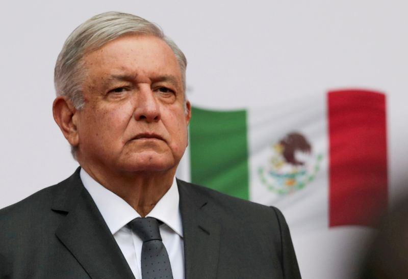 © Reuters. FILE PHOTO: Mexico's President Lopez Obrador addresses to the nation on his second anniversary as President, at the National Palace in Mexico City