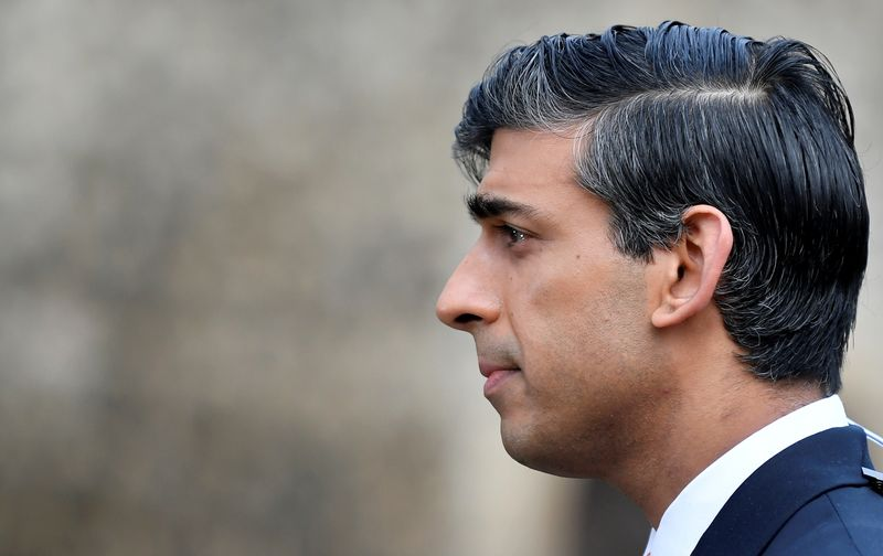 © Reuters. FILE PHOTO: Britain's Chancellor of the Exchequer Rishi Sunak takes part in an outside broadcast interview, in London