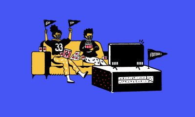 The header image is an illustration of two people sitting on a couch watching sports on a TV.