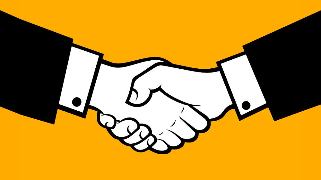 The header image features two hands in a business handshake.