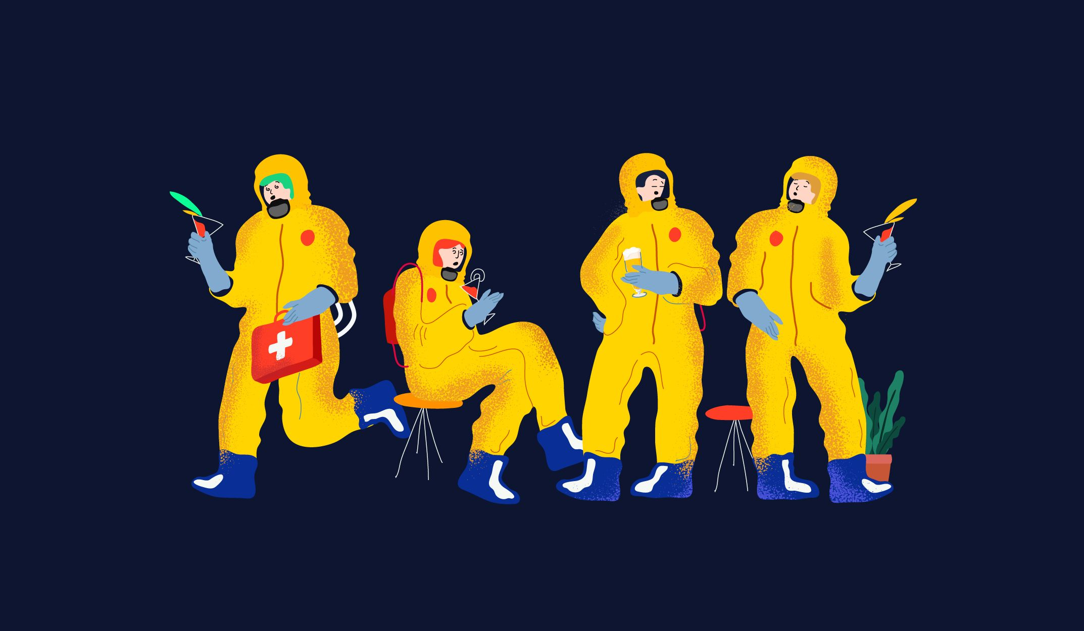The header image features an illustration of four people in hazmat suits.