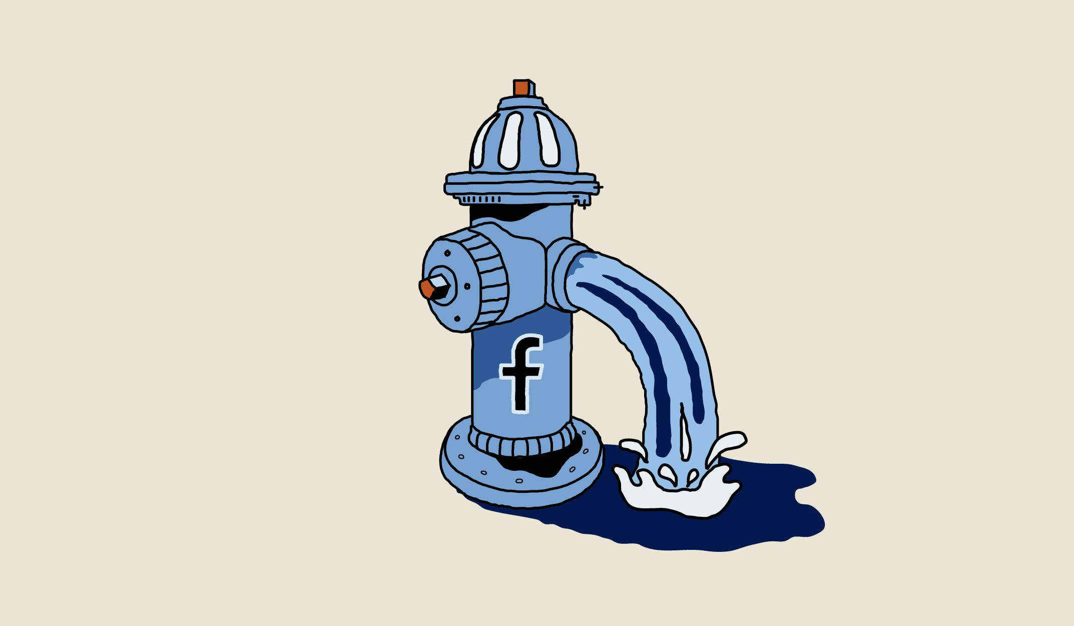 Illustration of a fire hydrant spraying water with the Facebook logo on the side.