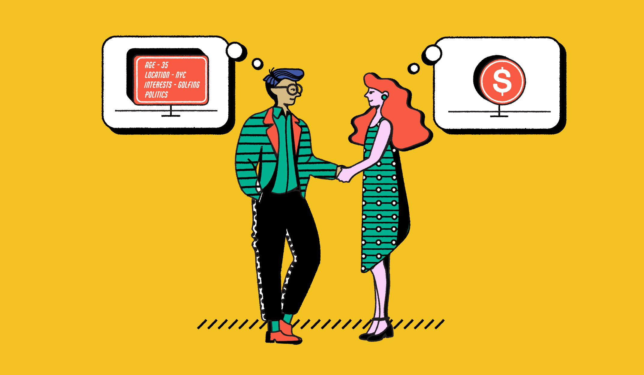 The feature image shows an illustration of a man and a woman with thought bubbles—one with a set of demographic data and the other showing a coin.