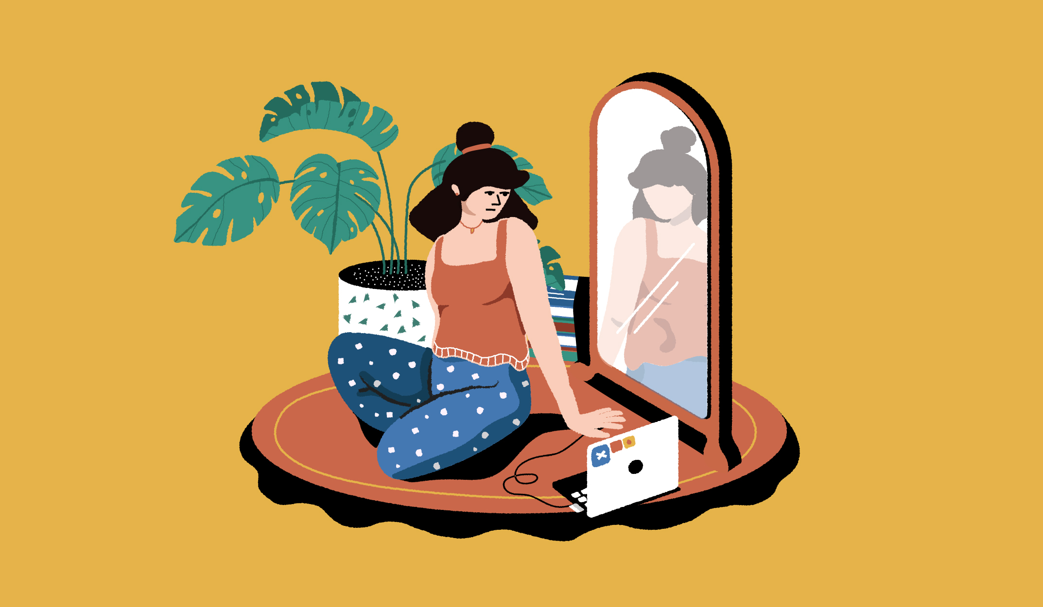 Illustration of woman sitting in front of a mirror with her laptop.